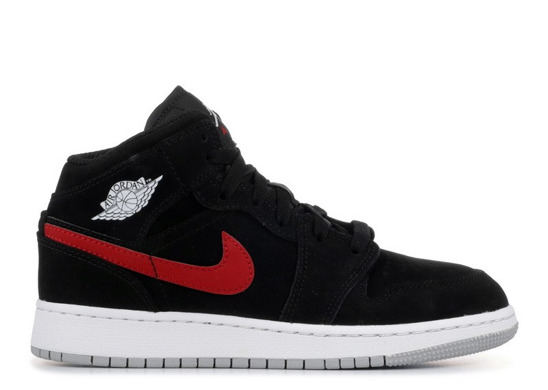 Air Jordan 1 Mid Black University Red GS 554725 065