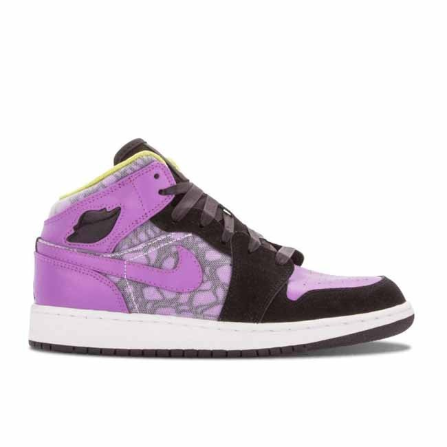 Girls Air Jordan 1 Phat GS Black Violet Pop Cyber 364781 018