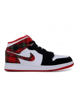 Air Jordan 1 Mid GS White Plaid 554725 607