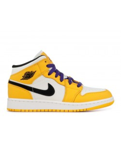 Air Jordan 1 Mid Se gs Lakers bq6931 700