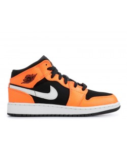 Air Jordan 1 Mid GS Orange Black 554725 062