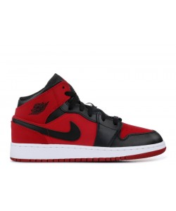 Air Jordan 1 Mid GS Gym Red Black 554725 610 For Sale