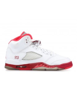 Air Jordan 5 Retro White Red GS Women's 440892 101