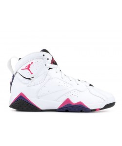 Air Jordan 7 Retro White Fireberry Black Purple GS Womens 442960 117