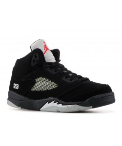 Jordan 5 Retro PS Black Metallic Silver Fire Red  135346 004