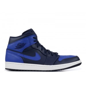 Air Jordan 1 Mid Obsidian Game Royal 554724 412