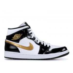 Air Jordan 1 Mid Patent Black Gold 852542 007
