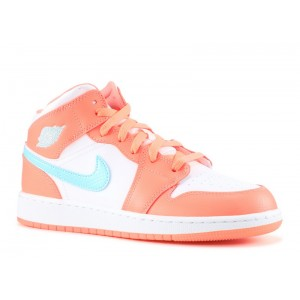 Air Jordan 1 Mid Crimson Pulse GG Womens 555112 814