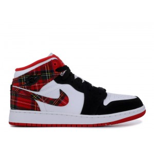Air Jordan 1 Mid White Plaid GS Womens 554725 607