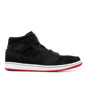 Air Jordan 1 Mid Nouveau Black Red 629151 001