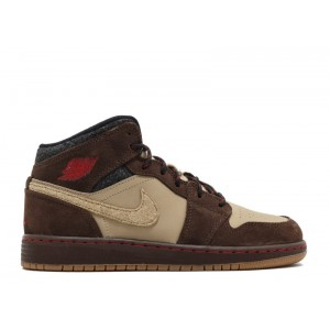 Air Jordan 1 Mid Prem Bg GS Baroque Brown 619049 205