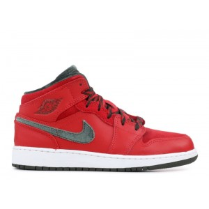 Air Jordan 1 Mid Prem Varsity Red Dark Army White GS Women's 619049 631