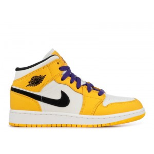 Air Jordan 1 Mid Se gs Lakers bq6931 700 Sale Cheap