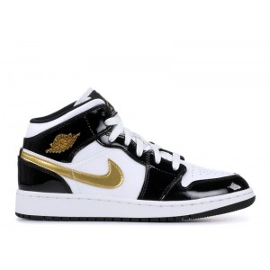 Air Jordan 1 Mid SE Black Gold GS Womens BQ6931 007