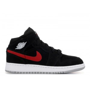 Air Jordan 1 Mid GS Black University Red 554725 065 Sale Online