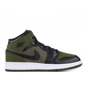 Air Jordan 1 Mid Olive Canvas Black GS 554725 301