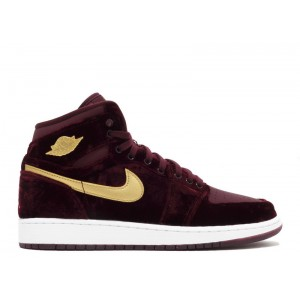 Air Jordan 1 High Gg GS Velvet Night Maroon Gold 832596 640