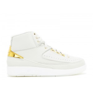 Air Jordan 2 Retro Quai 54 Light Bone/Metallic Gold-White 866035 001