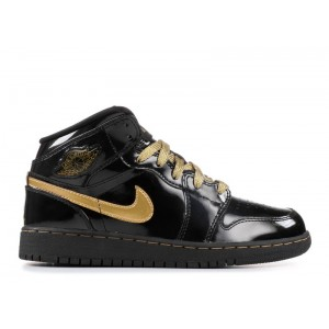 Air Jordan 1 Phat Black Metallic Gold Womens 364781 001