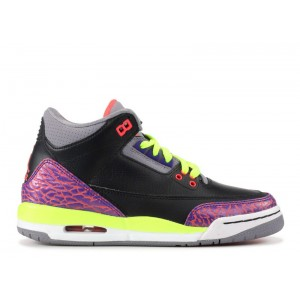 Air Jordan 3 Black Atomic Red GS Women's 441140 039