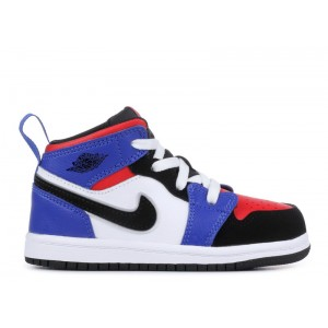 Air Jordan 1 Mid TD White Black Hyper Royal Red Infant Toddler 640735 124