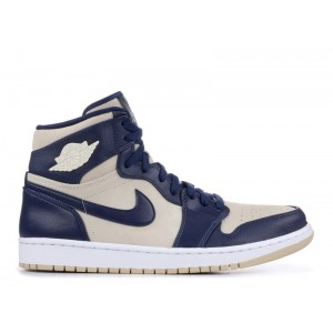 Wmns Air Jordan 1 Retro Prem Midnight Navy Light Cream aq9131 401