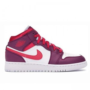 Air Jordan 1 Mid Dark Pink GS Women's 555112 661