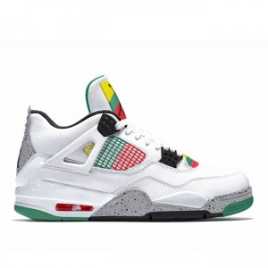 Air Jordan 4 WMNS Carnival White/Red-Lucid Green-Black AQ9129-100