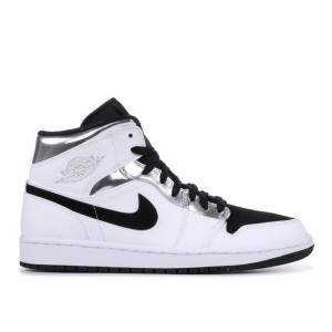 Air Jordan 1 Mid White Silver 554724-121 (GS)