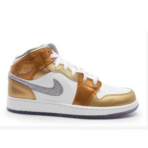 Air Jordan 1 Retro Phat White Silver Gold GS Women's 454659 135
