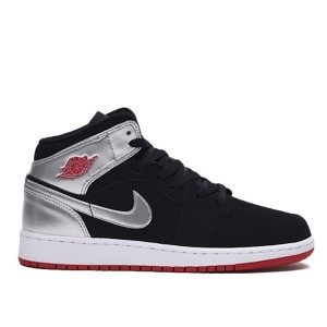 Air Jordan 1 Mid Black Silver (GS)